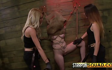 Two mistresses wearing strapons fuck scheduled yon plus restrained bitch Sheena Rose