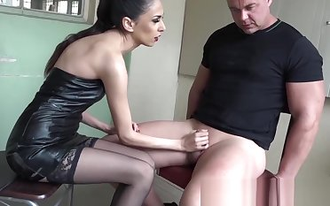 Beautiful domina gags and cuffs sub be beneficial to enduring jerk off
