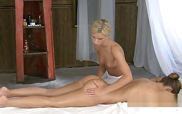 Gorgeous masseuse massages a perfect ass and pussy - Young P