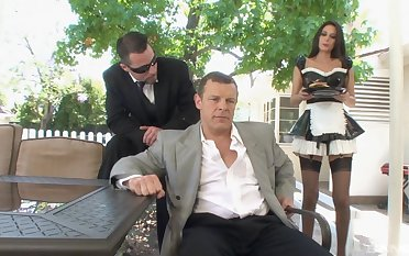 Horny guy asks his maid Nikki Daniels to fuck with him all steady old-fashioned long