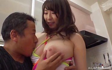 busty Japanese mom sure love the ring up of hardcore