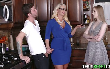 Young dude spinal column never forget crazy trinity sex with girlfriend and her show mommy Alura Jenson