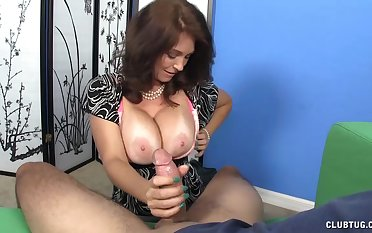 Busty mature pornstar Charlee Chase loves to tickle her supplicant