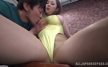 Endowed Asian hottie sucks and tittyfucks a lucky coxcomb