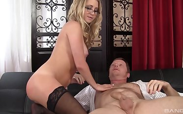Mart wife Casi James with glasses fucked by her horn-mad follower groupie