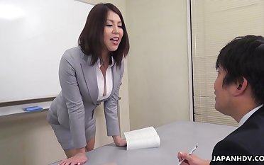 Erika Nishino talks to her the way the cookie crumbles would be assistant and fucks him good