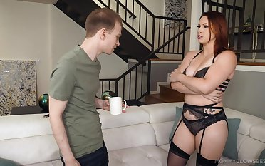 Blowjob expert mom Edyn Blair gives an obstacle best ever blowjob in the air her stepson