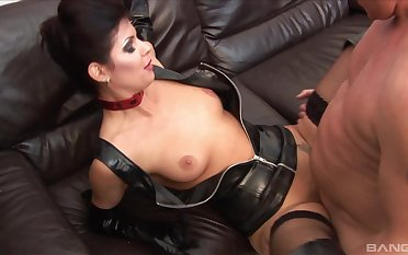 Erotic sex essentially the leather sofa with natural boobs Lucy Love