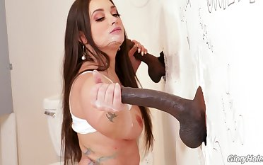 Gia Paige makes good use be incumbent on black cocks increased by a public bathroom stateliness hole