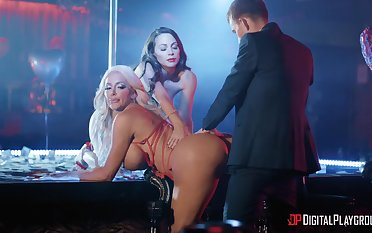 Erotic dancers Abigail Mac and Nicolette Shea fucked by one lucky guy