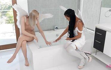 Interracial swishy between angels  Anny Aurora and Kira Noir