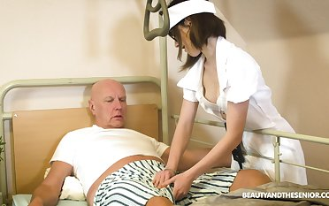 Teen nurse in glasses Adelle Sabelle gives a fine blowjob to pensioner