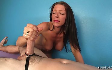 Of age massage therapist Soliel Mm strokes her client's dick