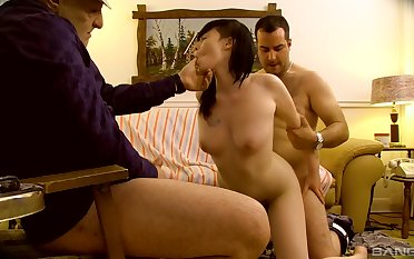 Asian wife filmed later on getting laid overwrought two men, father and son