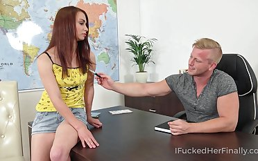 Mischievous coed bangs the brush geography teacher as a remainder his desk