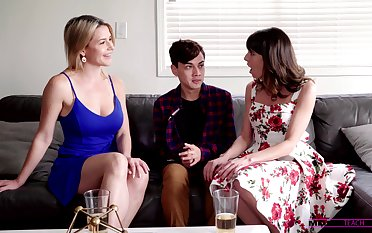 Stepmom and their way sexy friend help 19 yo dude to overcome premature ejaculation