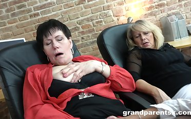 Lesbian trinity in the office motivation two matures and one teen