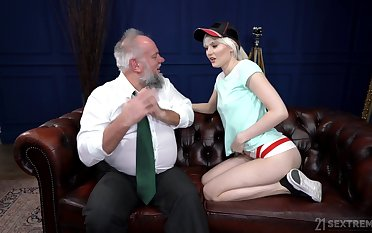 Injurious pensioner enjoys fucking young gilt prostitute Miss Melissa