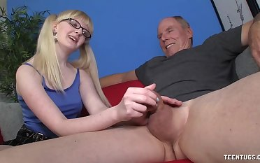 Slutty young whore wants this old male's well-known dick encircling her pain in the neck