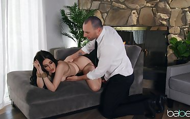 Alms-man humps this obedient brunette to very ruthless scenes