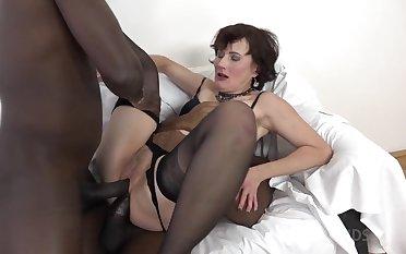 Diverting Mature Slut DPed By Two Huge Black Dicks