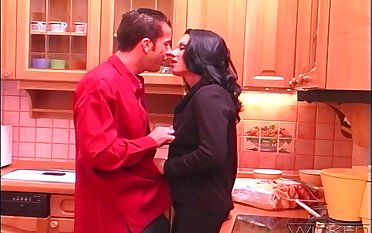 Fucking chiefly the kitchen amaze with anal doting wife Andrea
