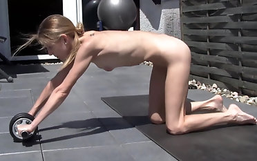 German wifey does bare yoga every day !