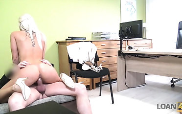 LOAN4K. Blond queen offers her raw slits for necessary...